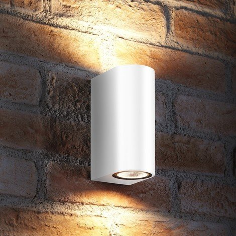 Auraglow 14w Indoor / Outdoor Double Up & Down Wall Light - LED bulbs Included - White