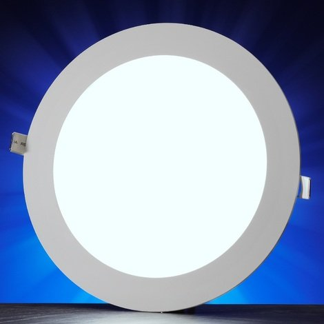 Auraglow 8w LED Circle Slim Panel Downlight Office Ceiling Light - Daylight White 6500K - 500 Lumens - 42w EQV
