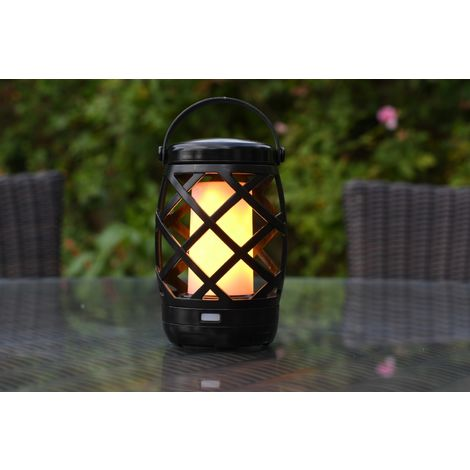 Auraglow Battery Operated Flickering Flame Outdoor Garden Hanging Gazebo Light LED Camping Lantern Table Lamp