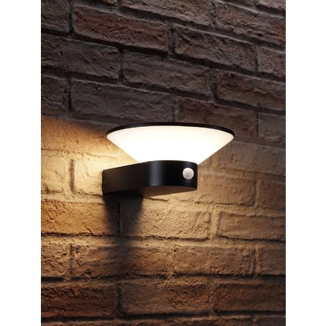 """main image of """"Auraglow Black Integrated LED Contemporary Cone Design Outdoor PIR Motion Sensor Wall Light – IP54, Warm White for Home Security, Porch, Garage, Drive and Garden"""""""