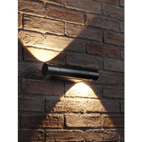 Auraglow Black Integrated LED Contemporary Cylinder Design Outdoor Rotatable Swivel Up and Down Wall Light – IP54, Warm White for Home Porch, Garage, Drive and Garden