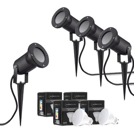 Auraglow Deep Recessed Garden Spike Light GU10 Holder IP54 Outdoor Uplighter - Cool White LED Light Bulb Included - Four Pack