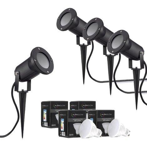 Auraglow Deep Recessed Garden Spike Light GU10 Holder IP54 Outdoor Uplighter - Warm White LED Light Bulb Included - Four Pack