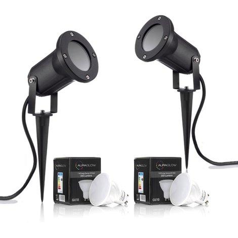 Auraglow Deep Recessed Garden Spike Light GU10 Holder IP54 Outdoor Uplighter - Warm White LED Light Bulb Included - Twin Pack