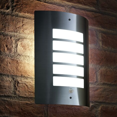 Auraglow Dusk Till Dawn Daylight Sensor Outdoor Wall Light - Stainless Steel - Cool White