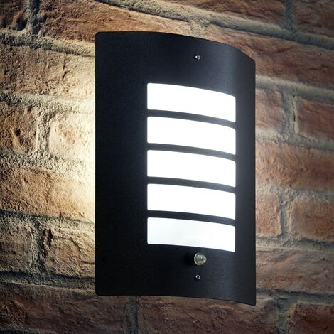 Auraglow Dusk Till Dawn Photocell Daylight Sensor Switch Outdoor Wall Light, Cool White - Black
