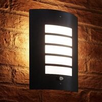 Auraglow Dusk Till Dawn Photocell Daylight Sensor Switch Outdoor Wall Light, Warm White – Black