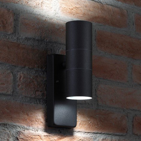 Auraglow Dusk Till Dawn Sensor Black Up & Down Outdoor Wall Security Light - Cool White