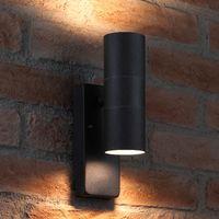 Auraglow Dusk Till Dawn Sensor Black Up & Down Outdoor Wall Security Light - Warm White