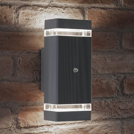 Auraglow Dusk Till Dawn Sensor Double Up & Down Wall Light - THRUXTON - Silver (Cool White)