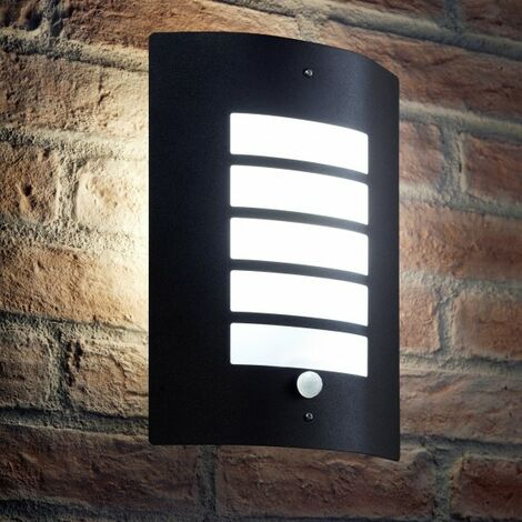 Auraglow Energy Saving Motion Activated PIR Sensor Outdoor Security Wall Light - Black Matte Finish - Cool White [Energy Class A+]