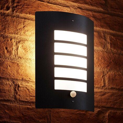Auraglow Energy Saving Motion Activated PIR Sensor Outdoor Security Wall Light - Black Matte Finish - Warm White [Energy Class A+]