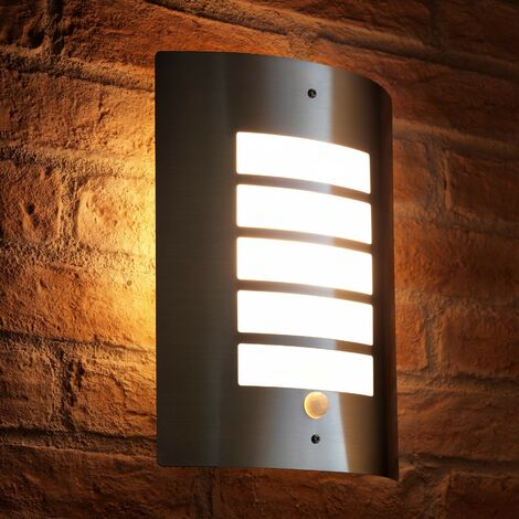 Auraglow Energy Saving Motion Activated PIR Sensor Outdoor Security Wall Light - Silver - Warm White [Energy Class A+]