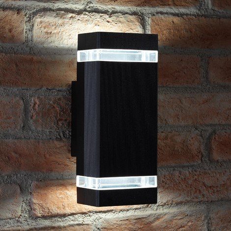 Auraglow Indoor / Outdoor Double Up & Down Wall Light - Black - Warm White LED Bulbs Included