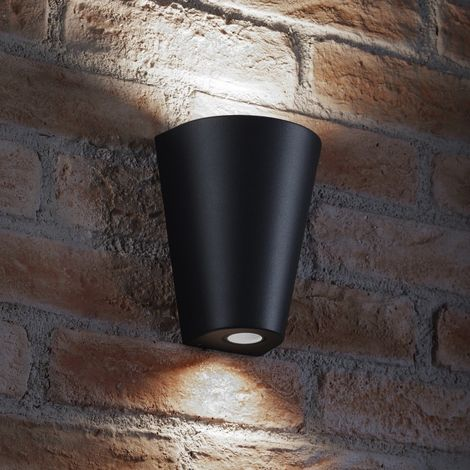 Auraglow Indoor / Outdoor Double Wall Up & Down Light - Black - Cool White LED Bulbs Included
