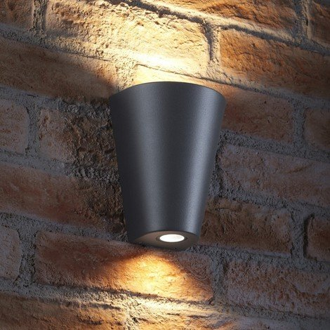 Auraglow Indoor / Outdoor Double Wall Up & Down Light - Grey - Cool White LED Bulbs Included