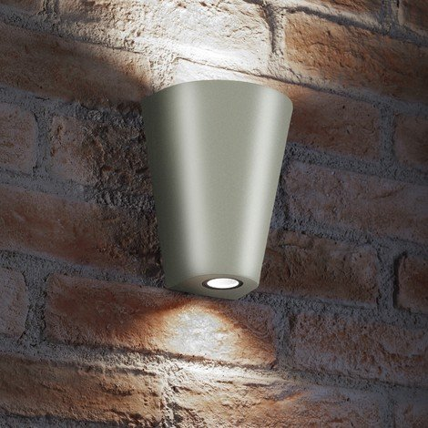Auraglow Indoor / Outdoor Double Wall Up & Down Light - Silver - Cool White LED Bulbs Included