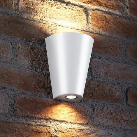 Auraglow Indoor / Outdoor Double Wall Up & Down Light - White - Cool White LED Bulbs Included