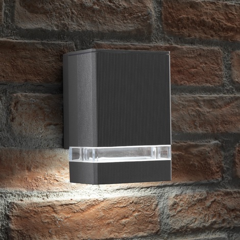 Auraglow Indoor / Outdoor Up or Down Wall Light - Silver - Warm White LED Bulbs Included
