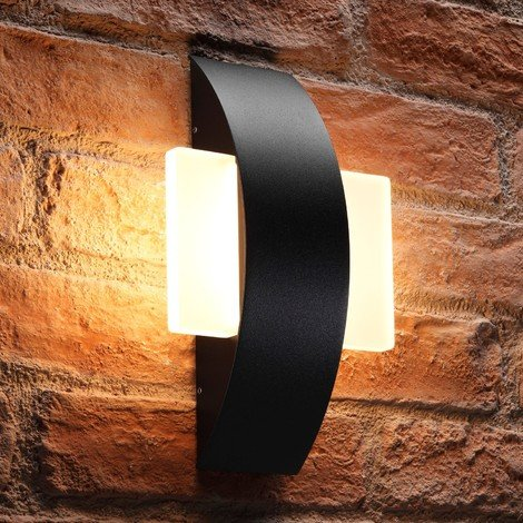 Auraglow Integrated 11W LED Indoor / Outdoor IP54 Warm White Frosted Glass Black Wall Light - Square