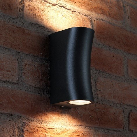 Auraglow IP44 Outdoor Double Up & Down Wall Light - Curved - Black - Warm White LED Bulbs Included