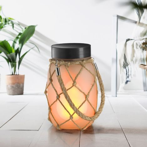 Auraglow LED USB & Solar Powered Outdoor & Indoor Flickering Fire Flame Effect Mason Glass Jar Lantern Lamp Table light