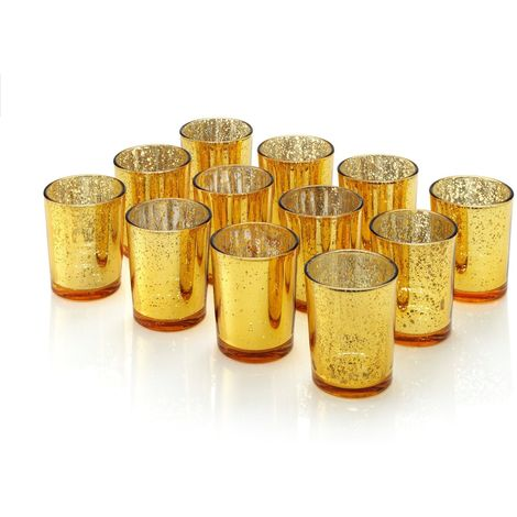 """Auraglow Mercury Glass Votive Candle Tealight Holder 2.75""""H Set of 12 Speckled Gold for Weddings, Parties and Home Decor"""