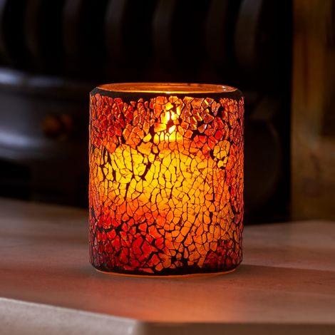"""main image of """"Auraglow Mosaic Glass Realistic Flickering Flameless LED Decorative Candle with Safety Flame and Timer, Perfect Mood light or Centrepiece"""""""