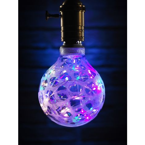 Auraglow Mysa Decorative Multi-Coloured Fairy Light LED Starry Sky String Silver Frosted Patterned Glass Bulb E27 - Starry LED Bulb Only
