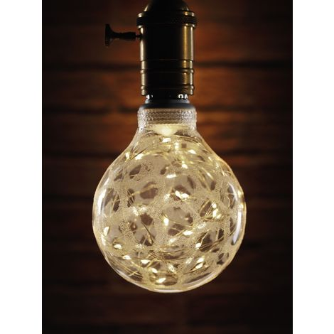 Auraglow Mysa Decorative Warm White Fairy Light LED Starry Sky String Silver Frosted Patterned Glass Bulb E27 - Starry LED Bulb Only