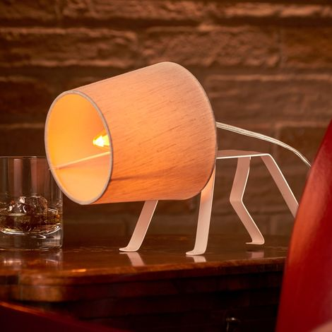 Auraglow Mysa Dog Design White Metal Frame Cute Lamp for Children's Room, Bedside Desk Table Lamp/Light - with E14 Candle LED Bulb [Energy Class A]