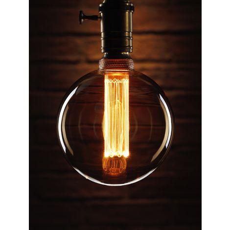 "main image of ""Auraglow Mysa LED Light Bulb – Vintage Retro Rustic Edison Style Decorative Energy Efficient Filament E27 Screw G125 Globe Shape"""