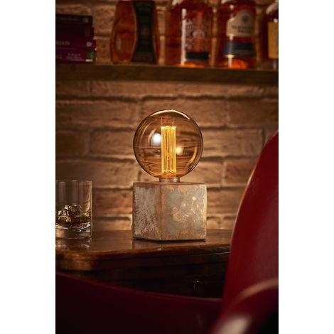Auraglow Mysa Modern Contemporary Bronzed Effect Stone Cement Cube Bedside Desk Table Lamp / Light