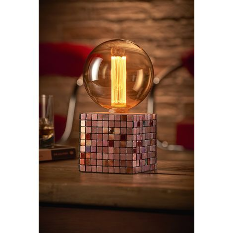 Auraglow Mysa Modern Contemporary Colourful Mosaic Effect Stone Cement Cube Bedside Desk Table Lamp/Light - with G125 LED Bulb [Energy Class A]