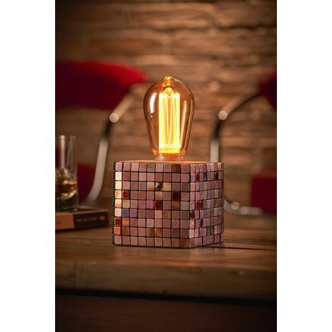 Auraglow Mysa Modern Contemporary Colourful Mosaic Effect Stone Cement Cube Bedside Desk Table Lamp/Light - with ST64 LED Bulb [Energy Class A]
