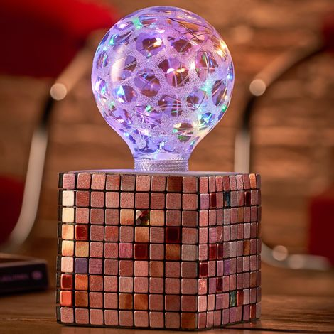 Auraglow Mysa Modern Contemporary Colourful Mosaic Effect Stone Cement Cube Bedside Desk Table Lamp/Light - with Starry Multi-Coloured LED Bulb [Energy Class A]