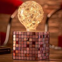 Auraglow Mysa Modern Contemporary Colourful Mosaic Effect Stone Cement Cube Bedside Desk Table Lamp/Light - with Starry Warm White LED Bulb [Energy Class A]