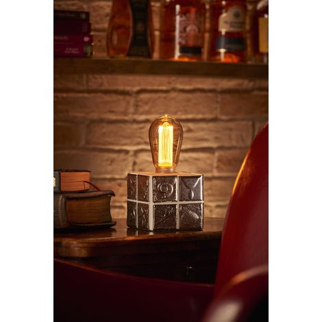Auraglow Mysa Modern Contemporary Fossil and Sea Shell Effect Stone Cement Cube Bedside Desk Table Lamp/Light - with ST64 LED Bulb [Energy Class A]