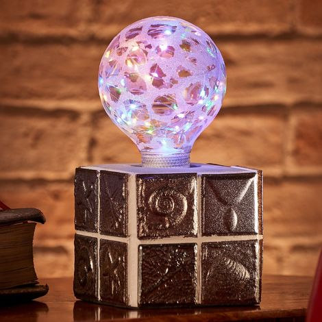 Auraglow Mysa Modern Contemporary Fossil and Sea Shell Effect Stone Cement Cube Lamp for Coffee Table, Desk or Bedside Light - with Starry Multi-Coloured LED Bulb[Energy Class A]