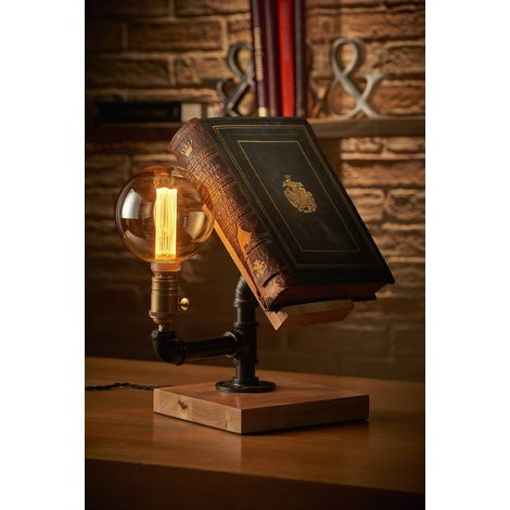 Auraglow Mysa Steampunk Industrial Effect Book Stand and Table, Desk or Bedside Lamp/Light