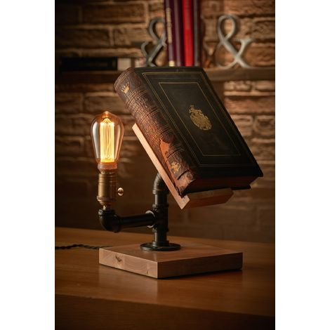Auraglow Mysa Steampunk Industrial Effect Book Stand and Table, Desk or Bedside Lamp/Light - with ST64 LED Bulb [Energy Class A]