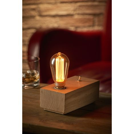 Auraglow Mysa Vintage Retro Wooden Block Mechanical Toggle Switch Cube Bedside Desk Table Lamp/Light - with ST64 LED Bulb [Energy Class A]