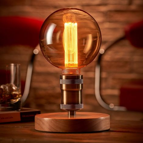 Auraglow Mysa Vintage Retro Wooden Round Base Mechanical Twist Switch Brass Table, Desk or Bedside Lamp/Light