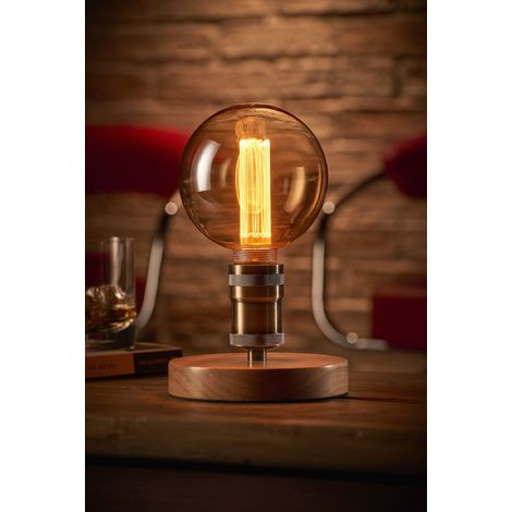 Auraglow Mysa Vintage Retro Wooden Round Base Mechanical Twist Switch Brass Table, Desk or Bedside Lamp/Light - with G125 LED Bulb [Energy Class A]