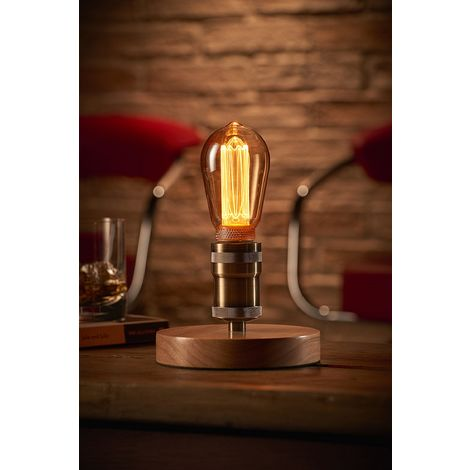 Auraglow Mysa Vintage Retro Wooden Round Base Mechanical Twist Switch Brass Table, Desk or Bedside Lamp/Light - with ST64 LED Bulb [Energy Class A]