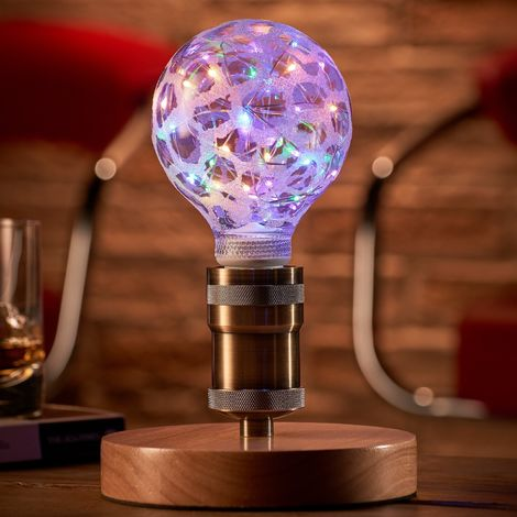 Auraglow Mysa Vintage Retro Wooden Round Base Mechanical Twist Switch Brass Table, Desk or Bedside Lamp/Light - with Starry Multi-Coloured LED Bulb[Energy Class A]