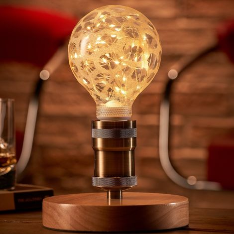 Auraglow Mysa Vintage Retro Wooden Round Base Mechanical Twist Switch Brass Table, Desk or Bedside Lamp/Light - with Starry Warm White LED Bulb [Energy Class A]