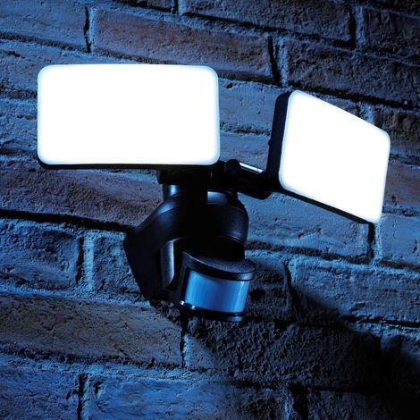 Auraglow PIR Infrared Motion Sensor Outdoor Twin Security LED Flood Light 46W, 500W EQV