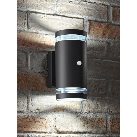 """main image of """"Auraglow PIR Motion Sensor Double Up & Down Outdoor Wall Security Light - Anthracite - Cool White"""""""