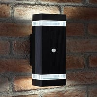 Auraglow PIR Motion Sensor Double Up & Down Outdoor Wall Security Light - Black